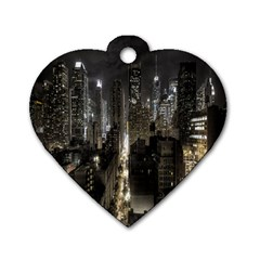 New York United States Of America Night Top View Dog Tag Heart (one Side)