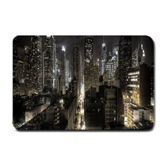 New York United States Of America Night Top View Small Doormat