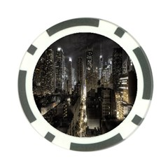 New York United States Of America Night Top View Poker Chip Card Guard