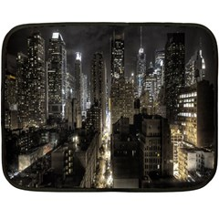 New York United States Of America Night Top View Double Sided Fleece Blanket (Mini)