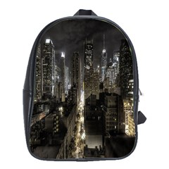 New York United States Of America Night Top View School Bags(Large)