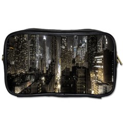 New York United States Of America Night Top View Toiletries Bags 2 Side