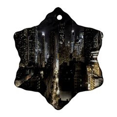 New York United States Of America Night Top View Snowflake Ornament (two Sides)