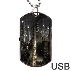 New York United States Of America Night Top View Dog Tag Usb Flash (two Sides)