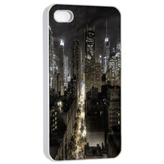 New York United States Of America Night Top View Apple iPhone 4/4s Seamless Case (White)