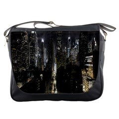 New York United States Of America Night Top View Messenger Bags