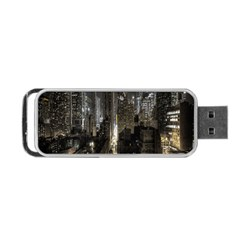 New York United States Of America Night Top View Portable USB Flash (One Side)