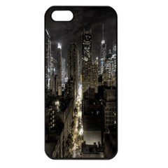 New York United States Of America Night Top View Apple iPhone 5 Seamless Case (Black)