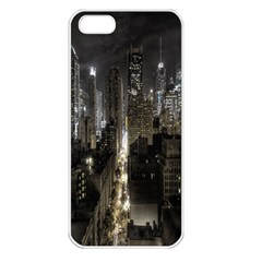 New York United States Of America Night Top View Apple Iphone 5 Seamless Case (white)