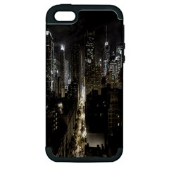 New York United States Of America Night Top View Apple iPhone 5 Hardshell Case (PC+Silicone)