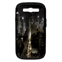 New York United States Of America Night Top View Samsung Galaxy S III Hardshell Case (PC+Silicone)