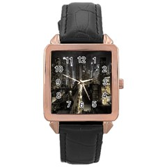 New York United States Of America Night Top View Rose Gold Leather Watch