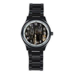 New York United States Of America Night Top View Stainless Steel Round Watch