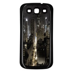 New York United States Of America Night Top View Samsung Galaxy S3 Back Case (Black)