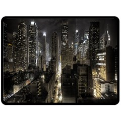 New York United States Of America Night Top View Double Sided Fleece Blanket (large)