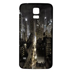 New York United States Of America Night Top View Samsung Galaxy S5 Back Case (White)