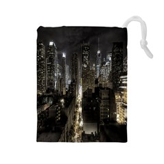 New York United States Of America Night Top View Drawstring Pouches (Large)