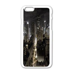 New York United States Of America Night Top View Apple Iphone 6/6s White Enamel Case