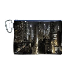 New York United States Of America Night Top View Canvas Cosmetic Bag (M)