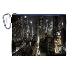 New York United States Of America Night Top View Canvas Cosmetic Bag (XXL)