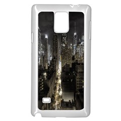 New York United States Of America Night Top View Samsung Galaxy Note 4 Case (White)