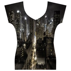 New York United States Of America Night Top View Women s V-Neck Cap Sleeve Top