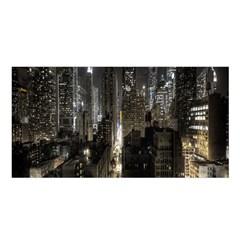 New York United States Of America Night Top View Satin Shawl