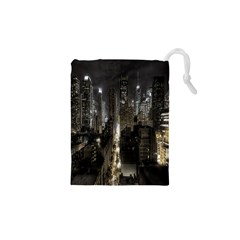 New York United States Of America Night Top View Drawstring Pouches (xs)