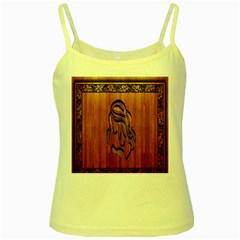 Pattern Shape Wood Background Texture Yellow Spaghetti Tank