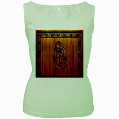 Pattern Shape Wood Background Texture Women s Green Tank Top