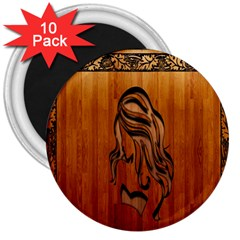 Pattern Shape Wood Background Texture 3  Magnets (10 Pack)