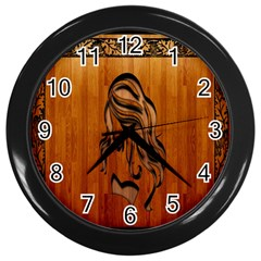 Pattern Shape Wood Background Texture Wall Clocks (Black)