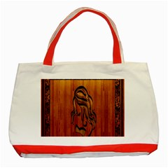 Pattern Shape Wood Background Texture Classic Tote Bag (Red)