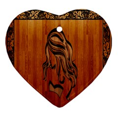 Pattern Shape Wood Background Texture Heart Ornament (two Sides)
