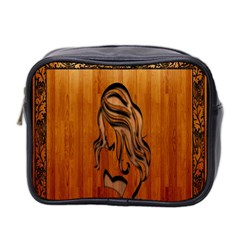 Pattern Shape Wood Background Texture Mini Toiletries Bag 2 Side