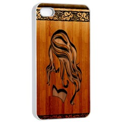 Pattern Shape Wood Background Texture Apple iPhone 4/4s Seamless Case (White)