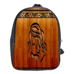 Pattern Shape Wood Background Texture School Bags (XL)