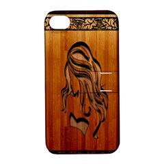 Pattern Shape Wood Background Texture Apple Iphone 4/4s Hardshell Case With Stand