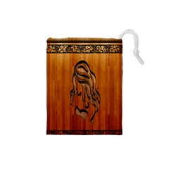 Pattern Shape Wood Background Texture Drawstring Pouches (Small)