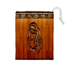 Pattern Shape Wood Background Texture Drawstring Pouches (Large)