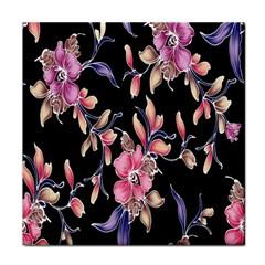 Neon Flowers Black Background Tile Coasters
