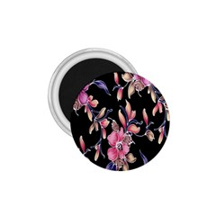 Neon Flowers Black Background 1.75  Magnets