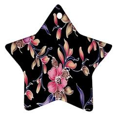Neon Flowers Black Background Ornament (star)
