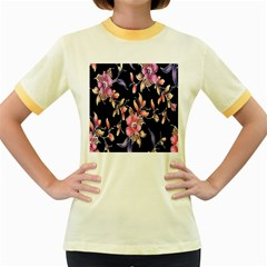 Neon Flowers Black Background Women s Fitted Ringer T Shirts