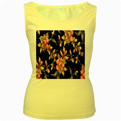 Neon Flowers Black Background Women s Yellow Tank Top