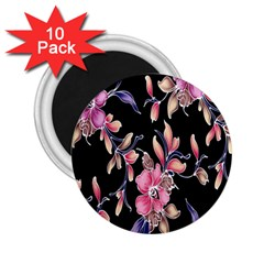 Neon Flowers Black Background 2.25  Magnets (10 pack)