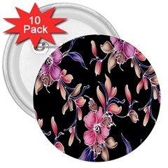 Neon Flowers Black Background 3  Buttons (10 pack)