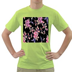Neon Flowers Black Background Green T-Shirt