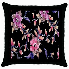 Neon Flowers Black Background Throw Pillow Case (Black)