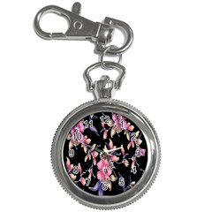 Neon Flowers Black Background Key Chain Watches